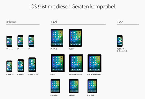 Unterstützte Gerät von iOS 9