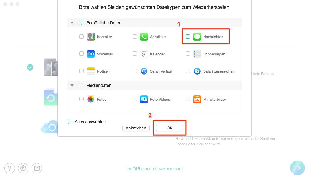 iMessage wiederherstellen ohne Backup – Schritt 3