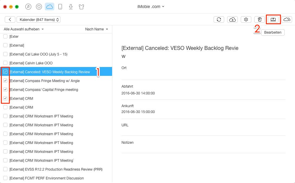 iCloud Kalender exportieren - Schritt 3