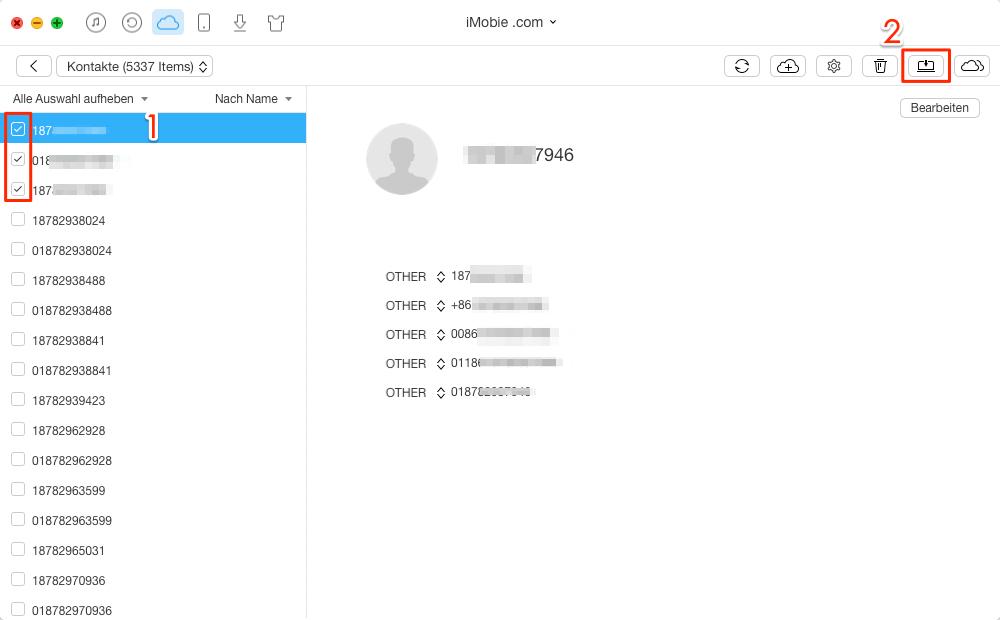 1 Klick! iCloud Kontakte exportieren - Schritt 3