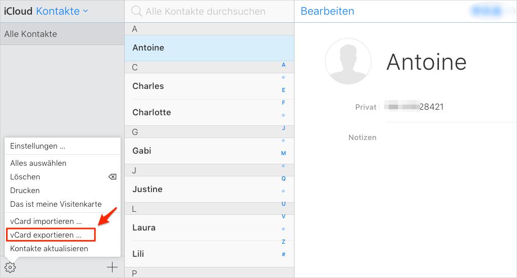 """iCloud Kontakte aus """"iCloud.com"""" exportieren"""