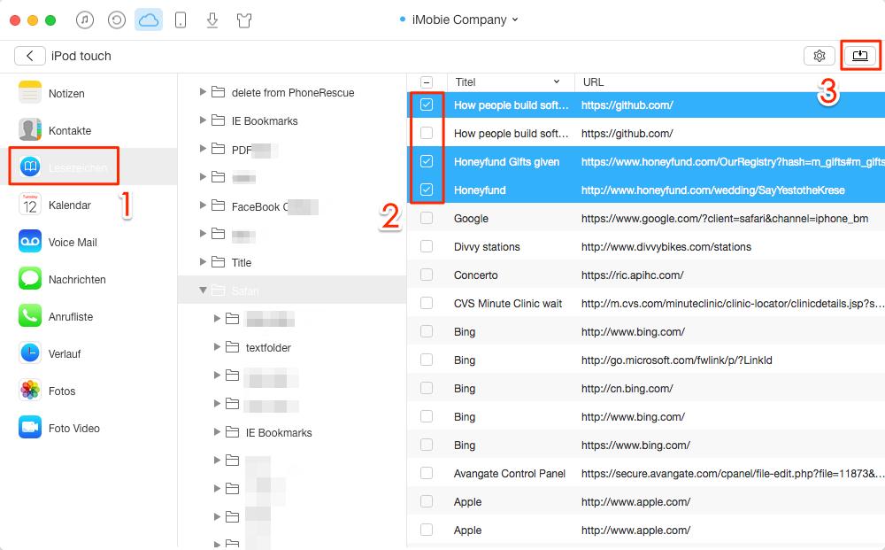 iCloud Lesezeichen leicht exportieren – Schritt 4
