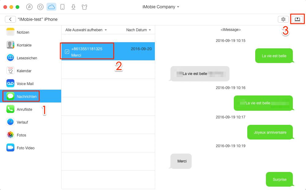 Nachrichten aus iCloud exportieren – Schritt 4