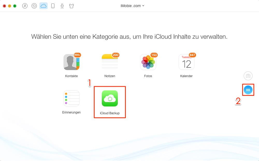 iCloud Backup anklicken – Schritt 2