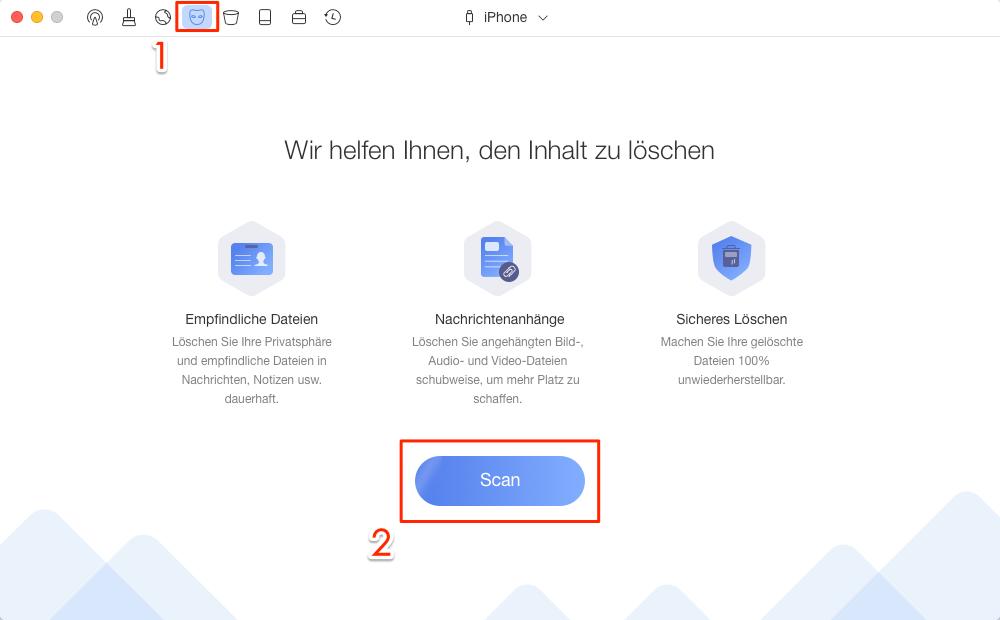 """""""Privacy Clean"""" von PhoneClean auswählen - Schritt 2"""