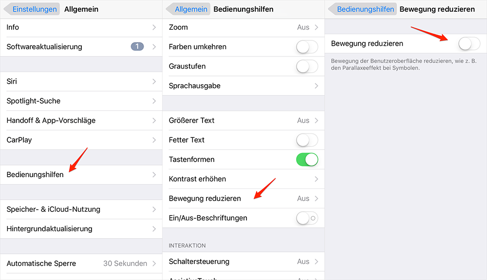 Bewegung reduzieren – iOS 10/10.3.2-Gerät beschleunigen