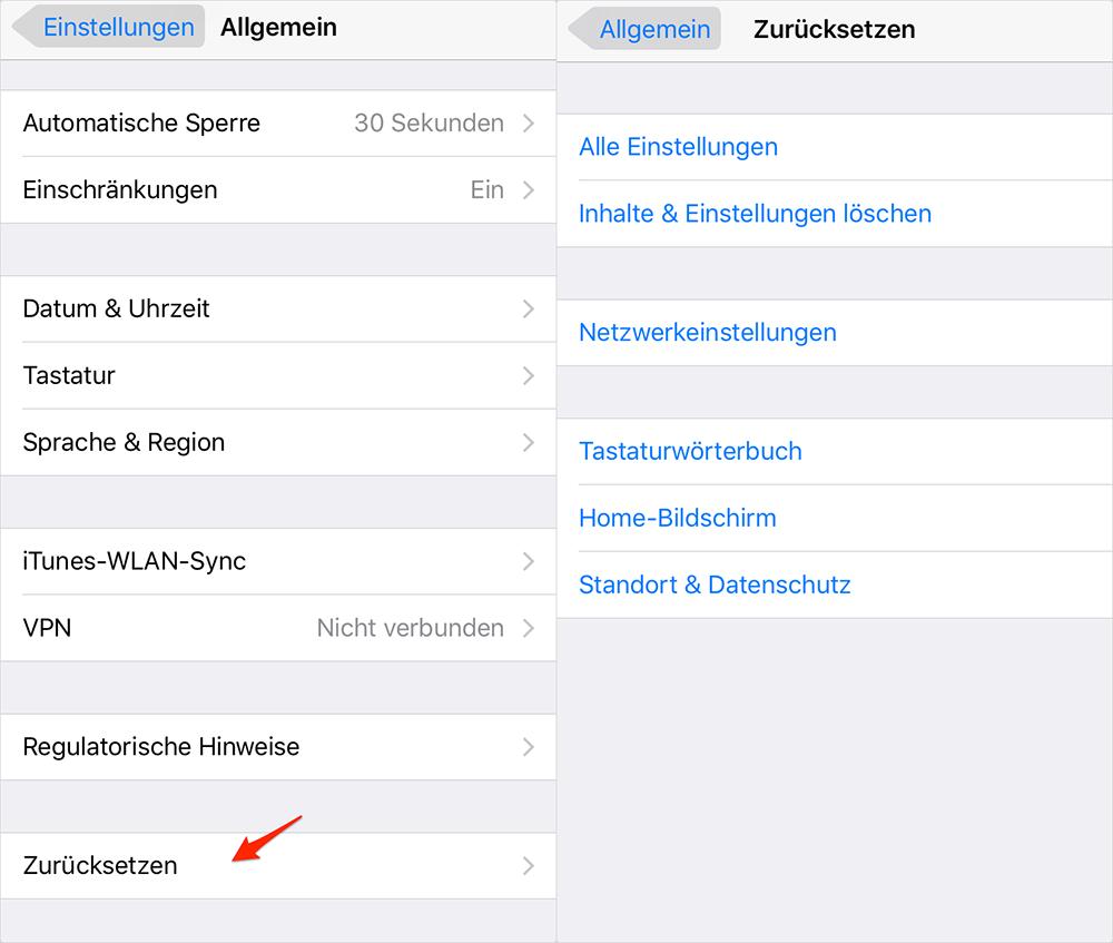 iOS-Gerät zurücksetzen - iOS 10-Gerät beschleunigen