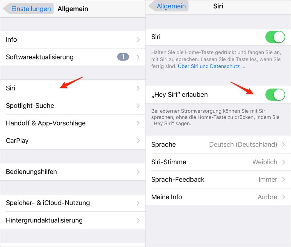 Hey Siri ausschalten - iOS 10-Gerät beschleunigen