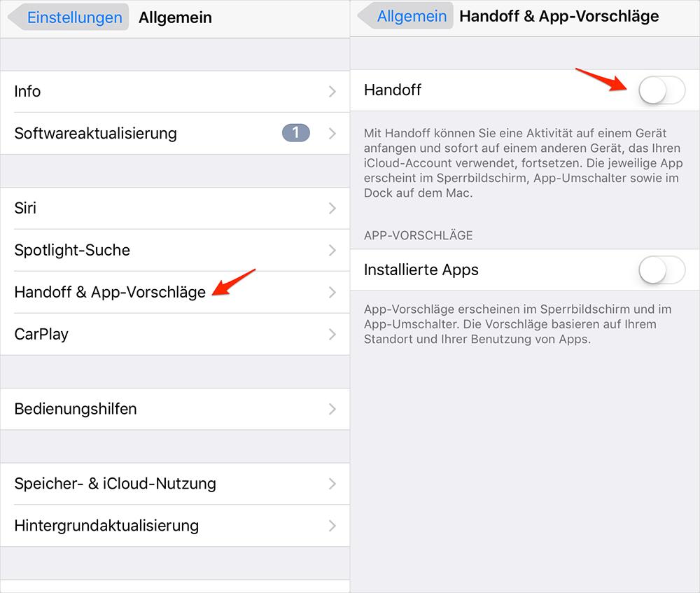Handoff und App-Vorschläge ausschalten - iOS 10-Gerät schneller machen