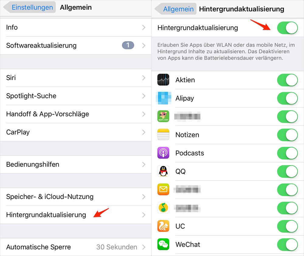 iOS 10-Gerät schneller machen - Hintergrundaktualisierung abschalten