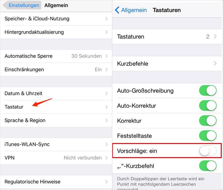 Wörtervorschlag deaktivieren - iOS 10-Gerät beschleunigen