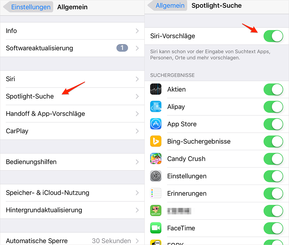 iOS 10-Gerät beschleunigen: Spotlight-Such optimieren