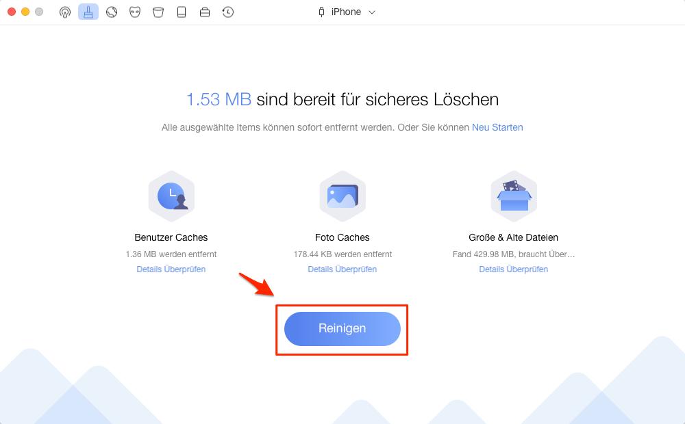 iPad Cache mit PhoneClean leeren - Schritt 2