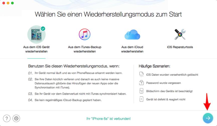 iPhone 6/6s Kontakte wiedergewinnen - Schritt 2
