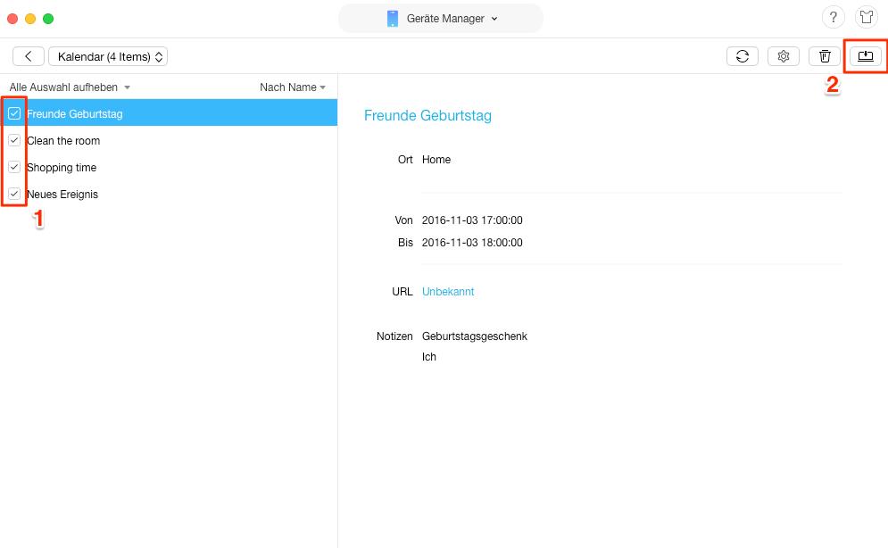 iPhone Kalender exportieren und drucken - Schritt 2