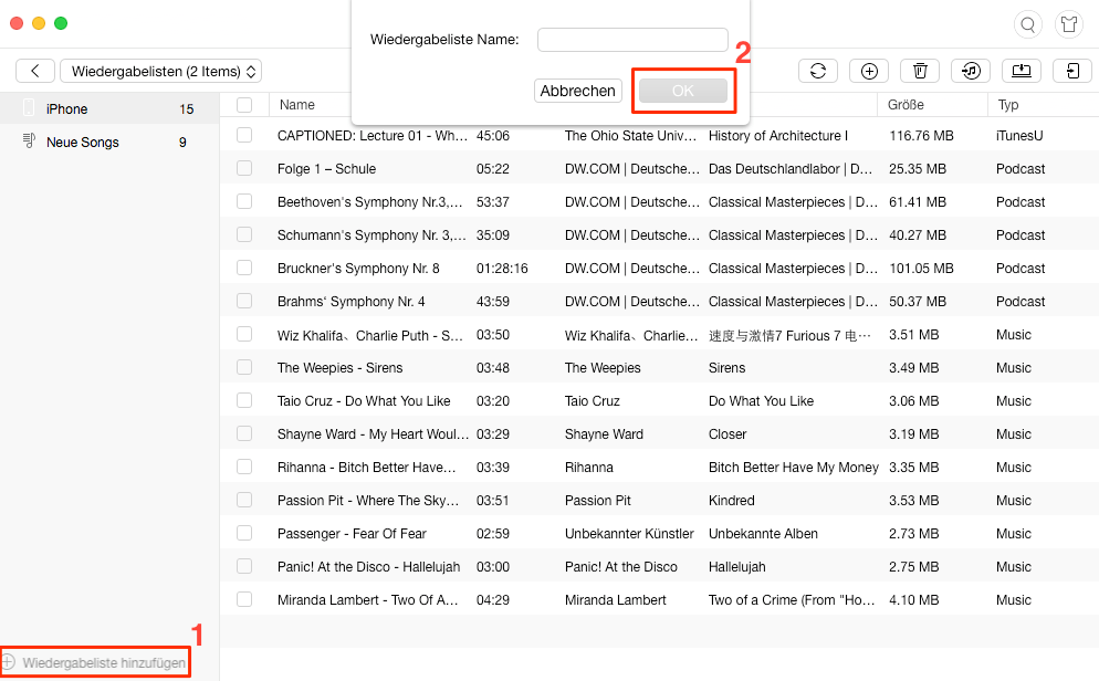 iPhone Playliste erstellen - Schritt 2