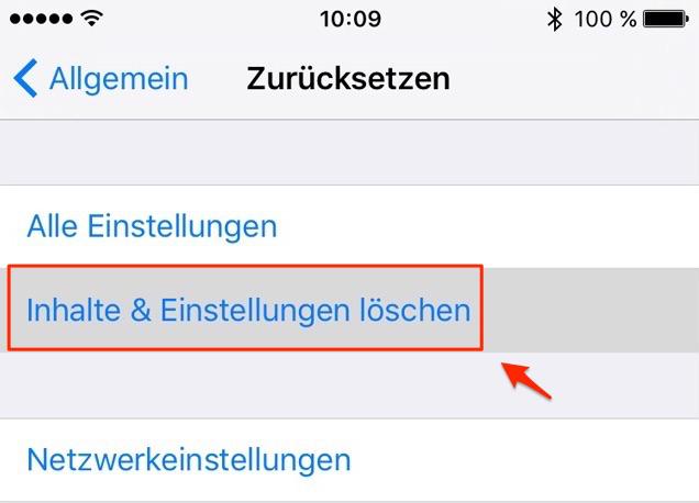 iPhone direkt zurücksetzen