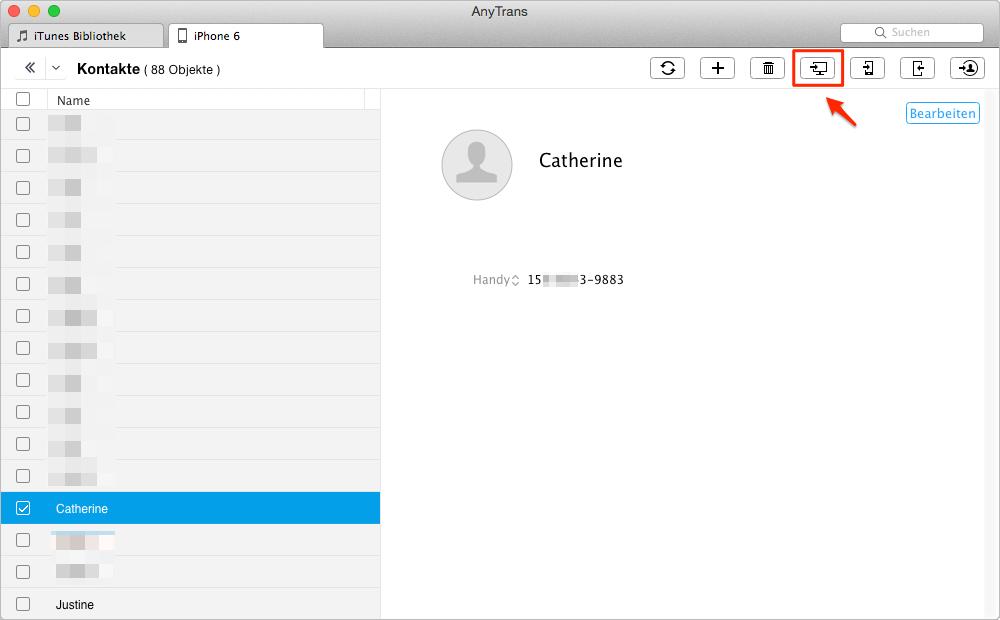 Mit AnyTrans können Sie iPhone Kontakte im Computer sichern - Schritt 3