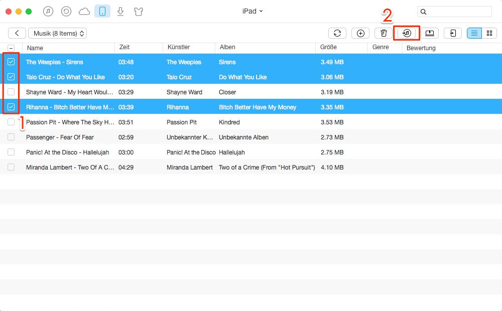 Selektiv & effizient! Musik vom iPad auf iTunes übertragen – Schritt 3