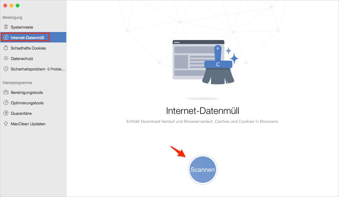 Wählen Sie Internet-Datenmüll und starten Scannen - Schritt 1