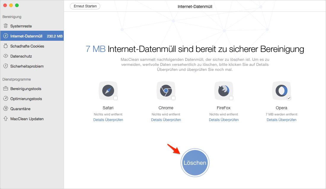 Wie kann man Opera Cache auf dem Mac schnell leeren - Schritt 3
