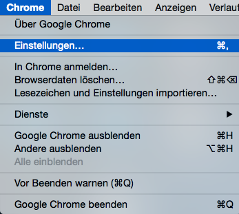 Einstellungen unter der Menü von Chrome