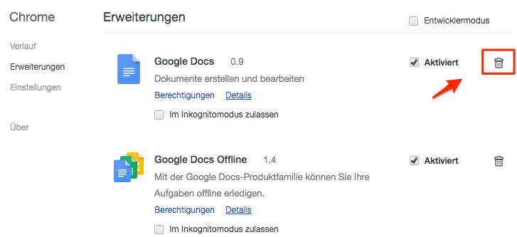 Plugins in Chrome löschen