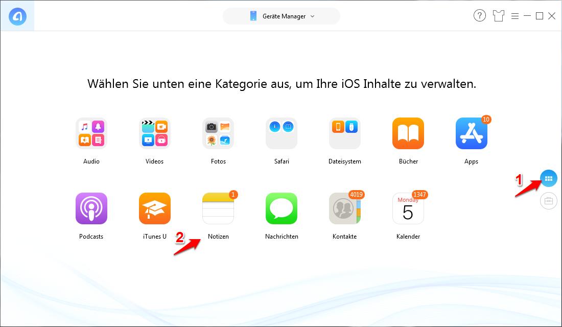 iPhone Notizen sichern & exportieren – Schritt 2