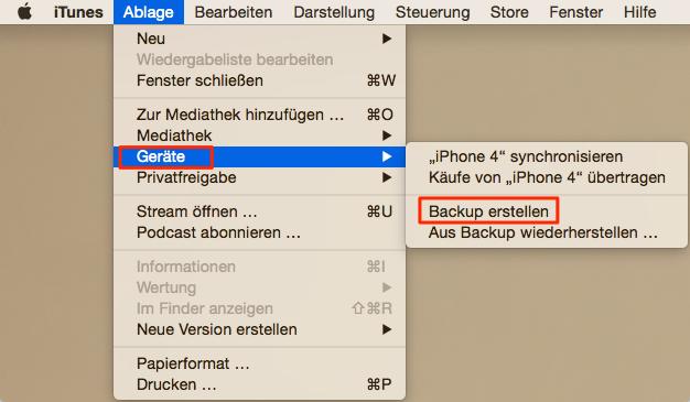wie kann man mit iTunes iPhone Daten sichern
