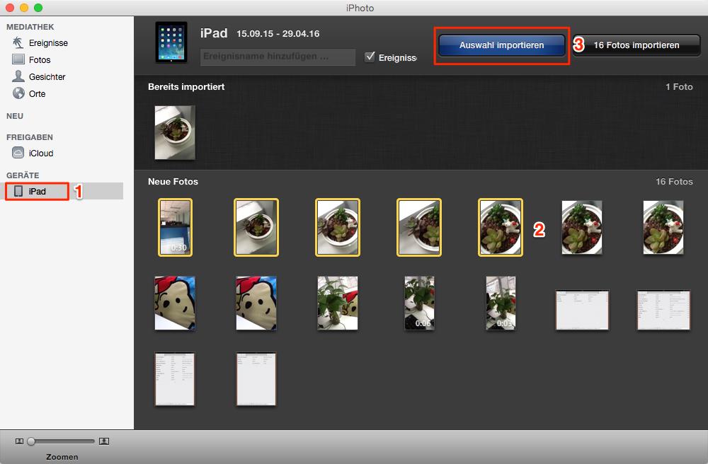 iPhoto - kann man Fotos vom iPad auf Mac übertragen