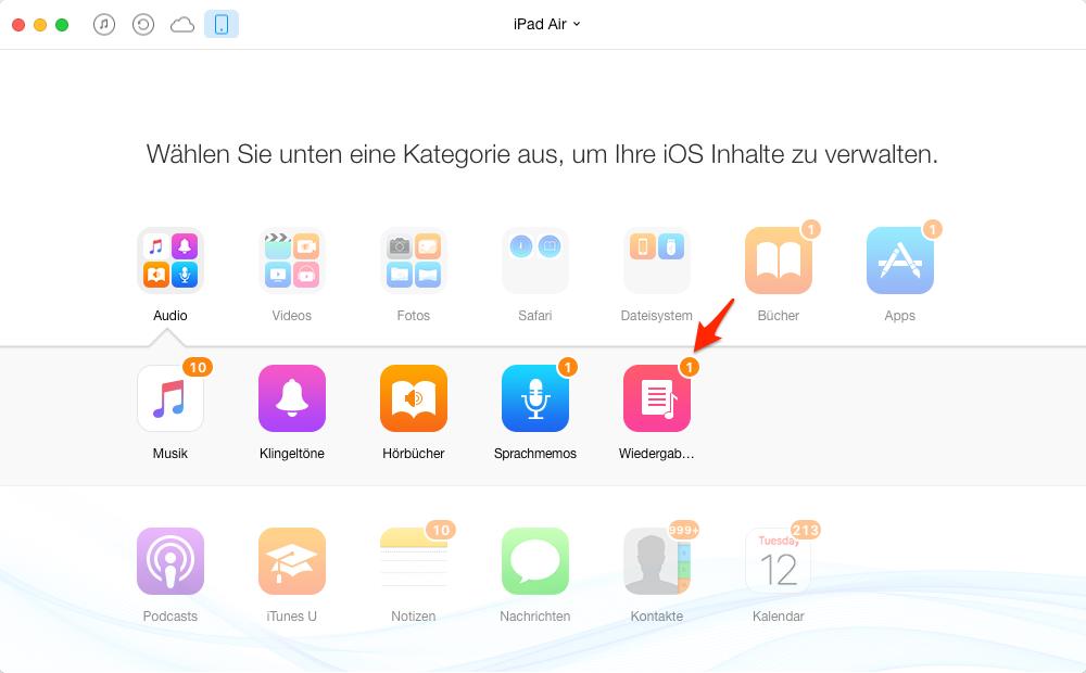 Playlist vom iPad auf iTunes – Schritt 2