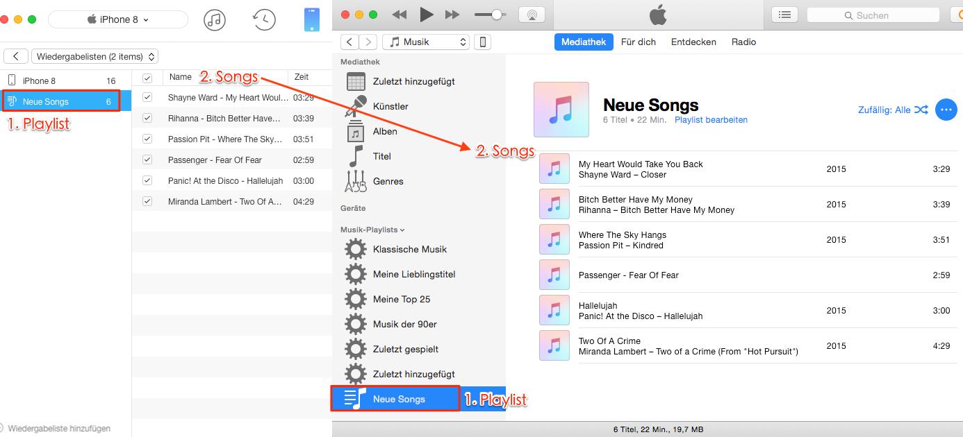 Playlist vom iPhone auf iTunes erfolgreich übertragen – Schritt 4