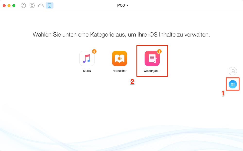 Wiedergabeliste vom iPod auf iTunes übertragen – Schritt 1