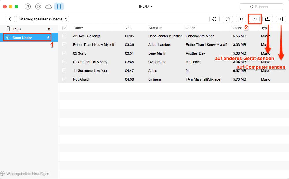 Wiedergabeliste vom iPod in iTunes selektiv importieren – Schritt 2