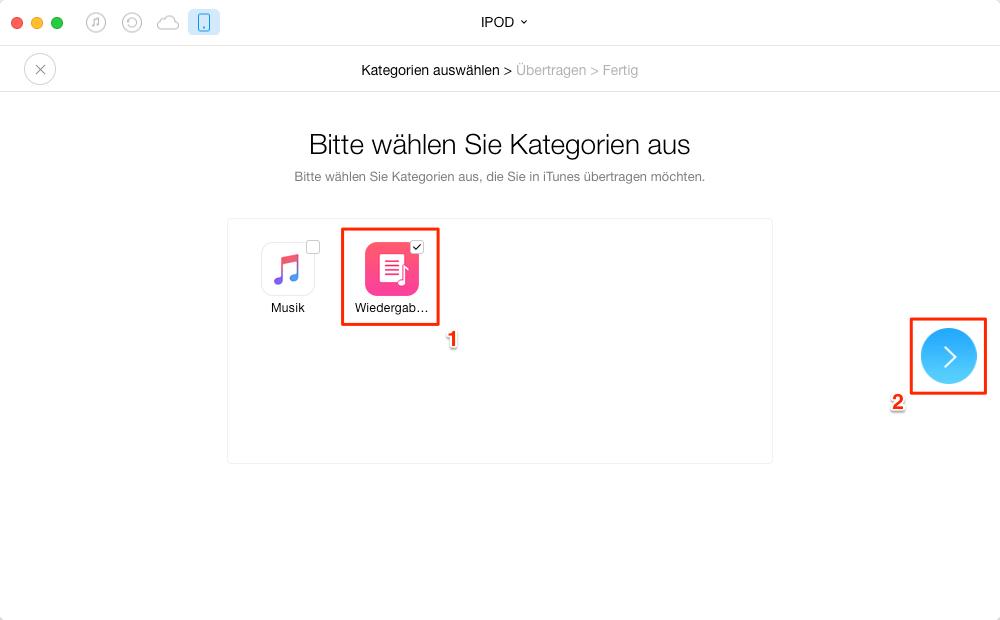 Mit 1-Klick! Alle Playliste vom iPod in iTunes importieren – Schritt 3