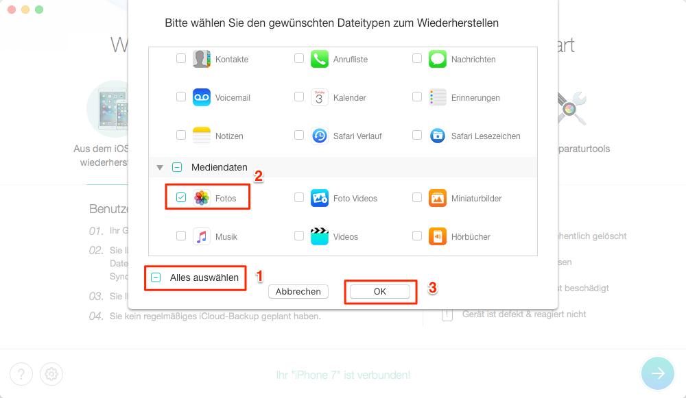 iPhone (X/8/7) gelöschte Bilder wiederherstellen, ohne Backup – Schritt 2
