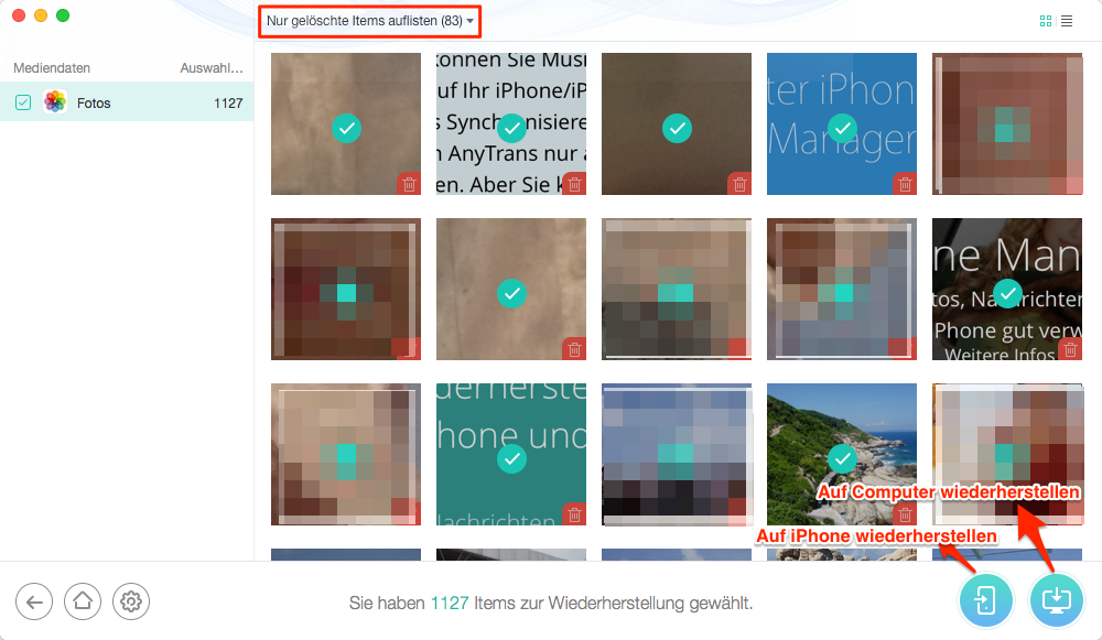 Gelöschte Fotos bzw. Bilder wiederherstellen iPhone – Schritt 3