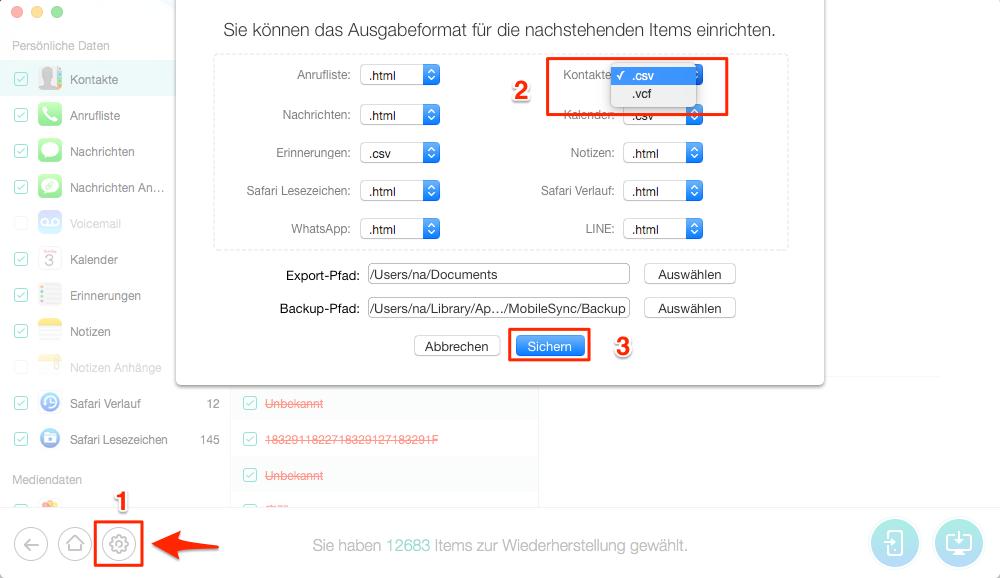 gelöschte Kontakte wiederherstellen iPhone - Format von Kontakte wählen