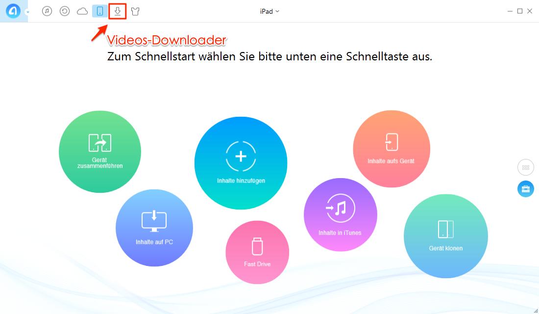 AnyTrans öffnen und Funktion für Download auswählen – Schritt 1