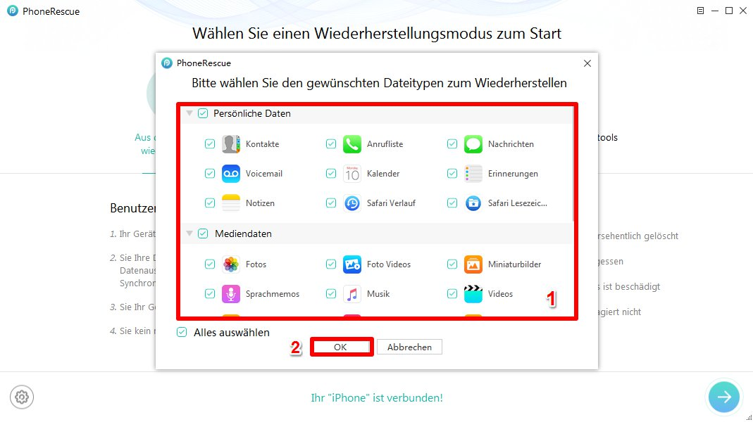 iPhone Daten retten nach wiederherstellung - Schritt 3