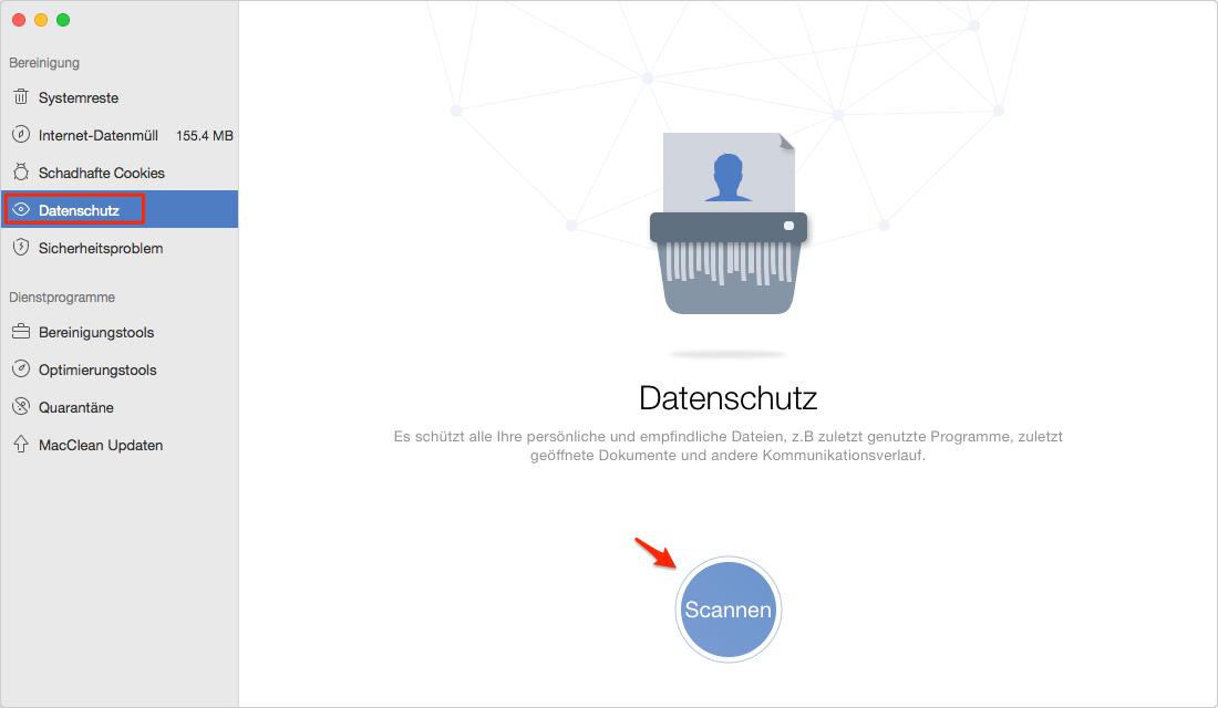 """Wählen Sie Bereinigungslösung """"Datenschutz"""" aus - Schritt 1"""