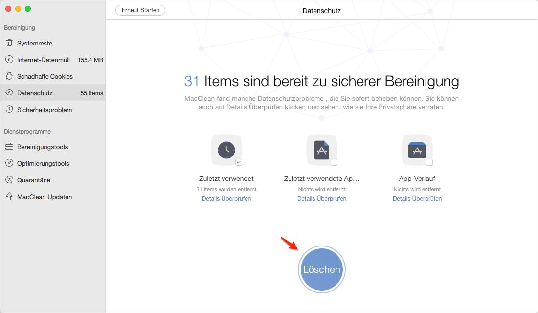 Zuletzt verwendete Dateien auf dem Mac schnell leeren - Schritt 3