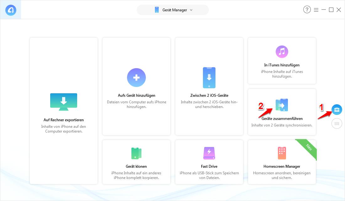 Daten von zwei iPhones zusammenfassen – Schritt 3
