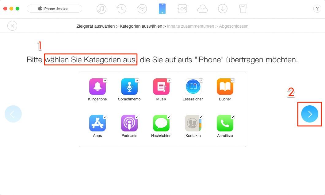 Zwei iPhones zusammenführen – Schritt 4