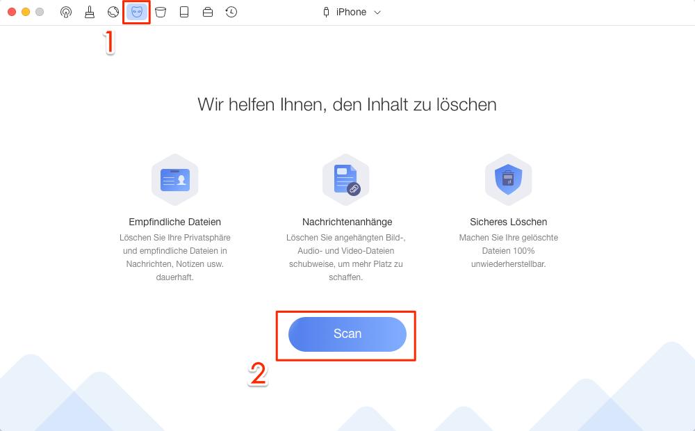 PhoneClean starten und Privacy Clean wählen - Schritt 1
