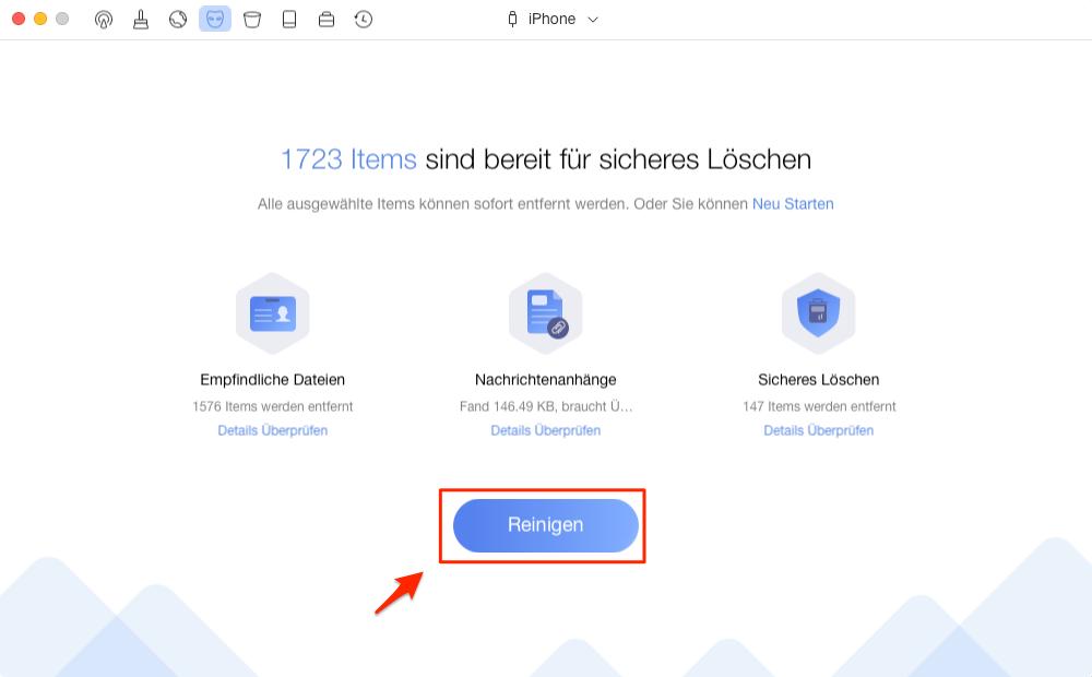 PhoneClean löscht iPhone Anrufliste – Schritt 2