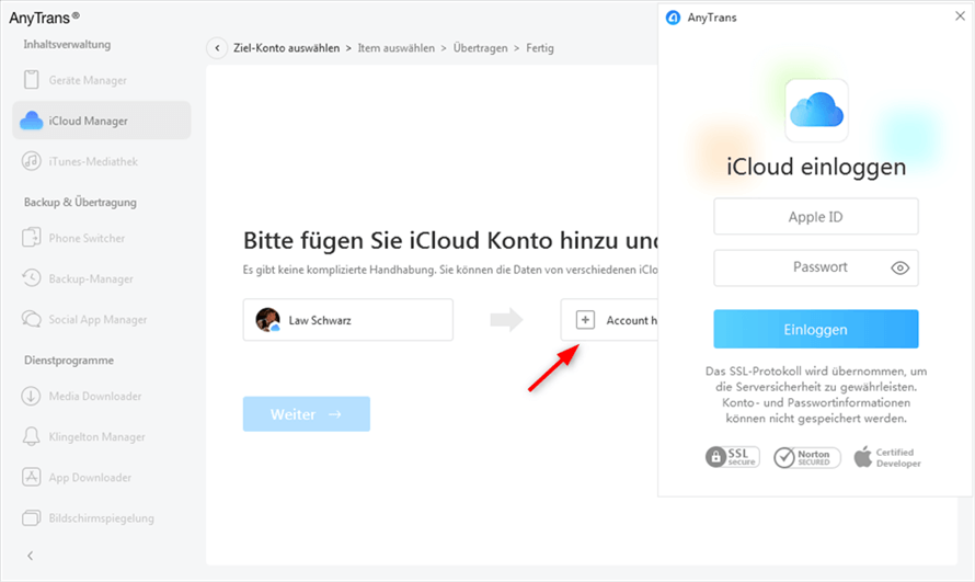 Zwischen zwei iCloud-konten Daten übertragen