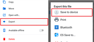 Download Files from Dropbox to Android by Exporting Files - Step 3
