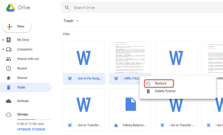 How to Fix Google Drive Files Missing via Restore from Trash