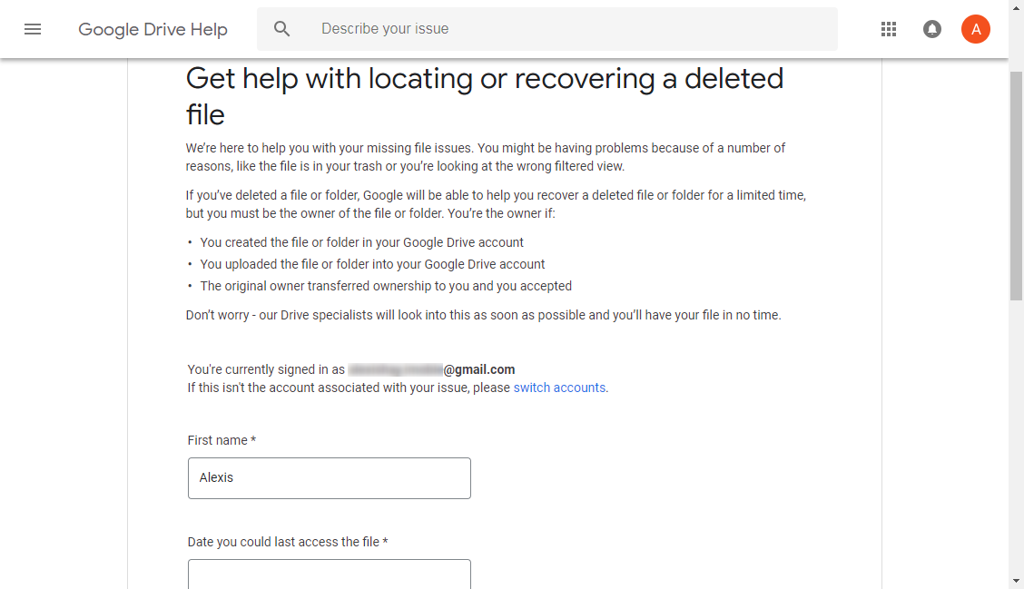 How to Fix Google Drive Files Missing via Submit Request to Google Drive Support